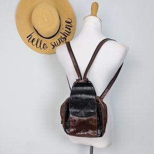 Vintage Leather Backpack Crossbody Bag Colorblock